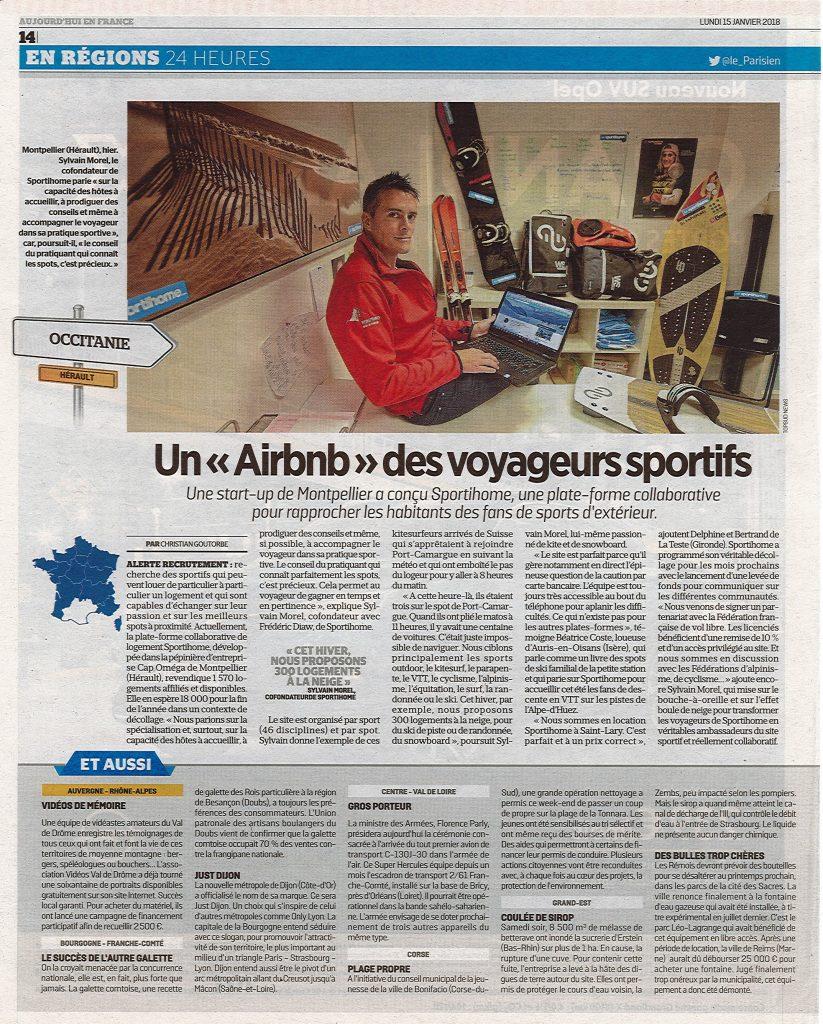 le parisien - airbnb des voyageurs sportifs