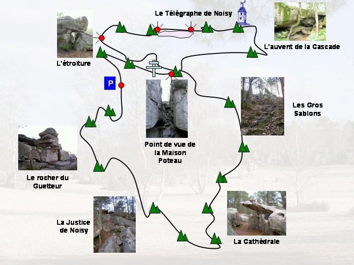 Carte de randonnée pédestre, circuit des 25 bosses, près de Paris