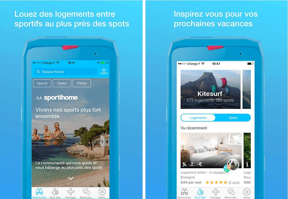 location et inspiration - appli Sportihome